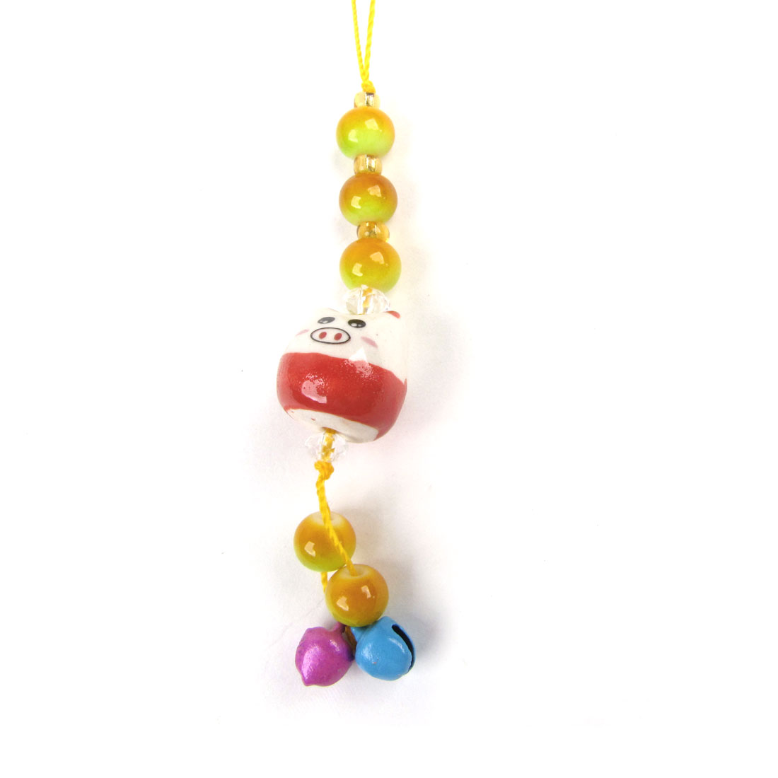 Yellow Strap 2 Bells White Red Ceramic Pig Head Pendants Mobile Phone Cord