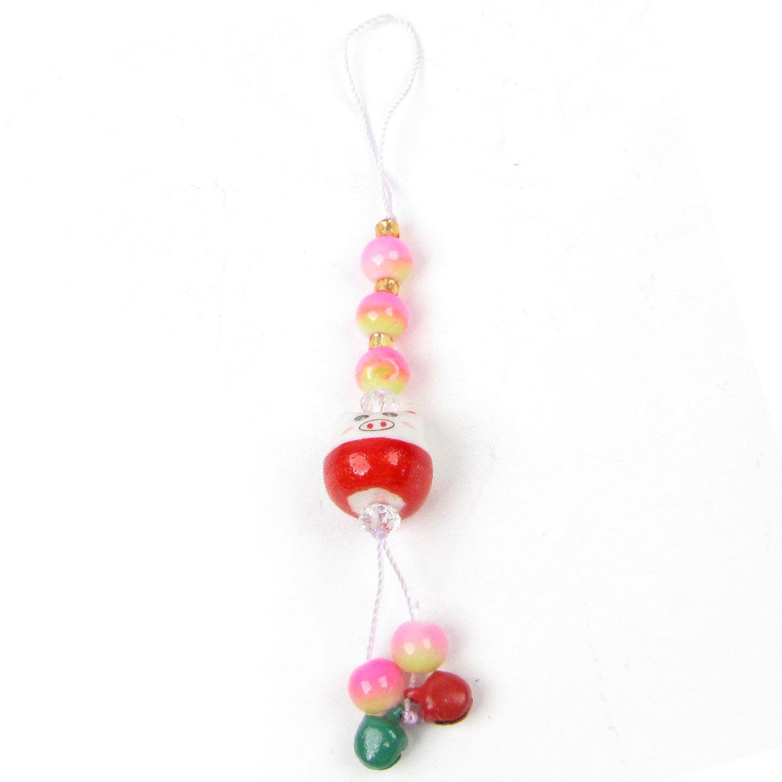 Red Green Bell Ceramic Cartoon Pig Head Fuchsia Bead Pendant Cell Phone Strap