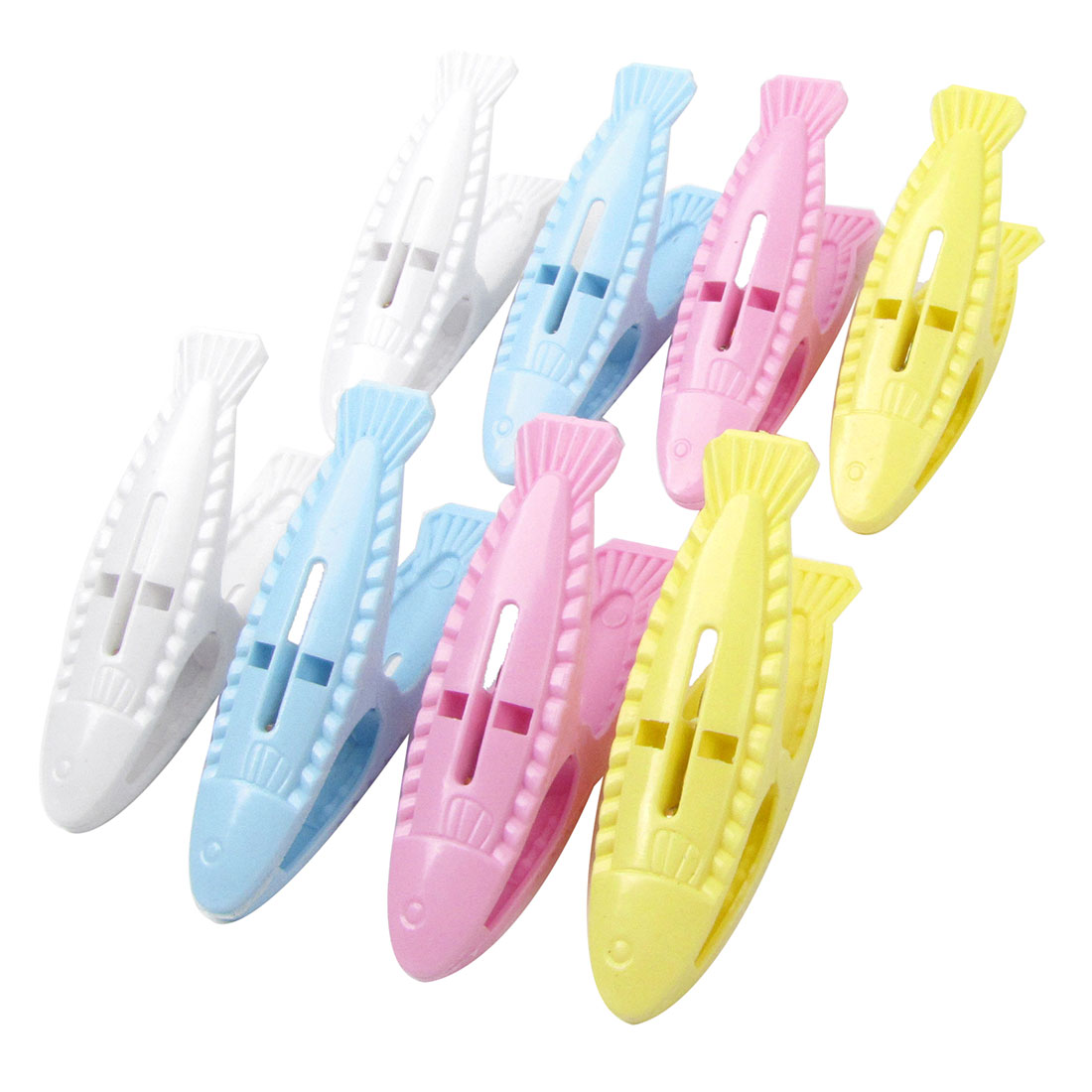 8 Pcs Colorful Fish Shape Plastic Clothespins Clothes Clips Pegs