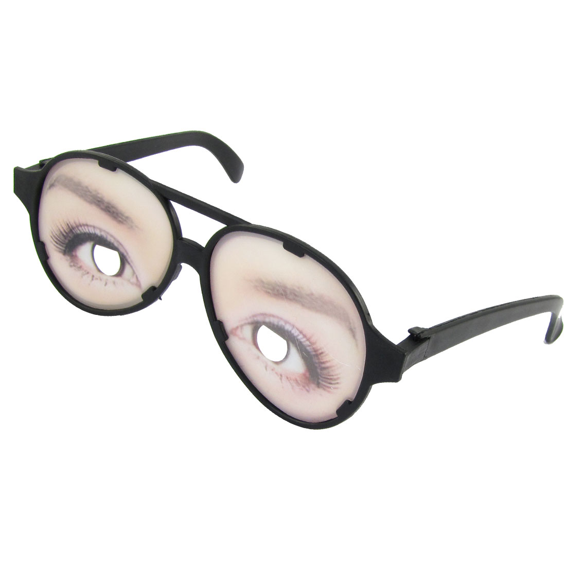 Eyes Print Plastic Lens Two Bridge Black Full Rim Fun Glasses Toy