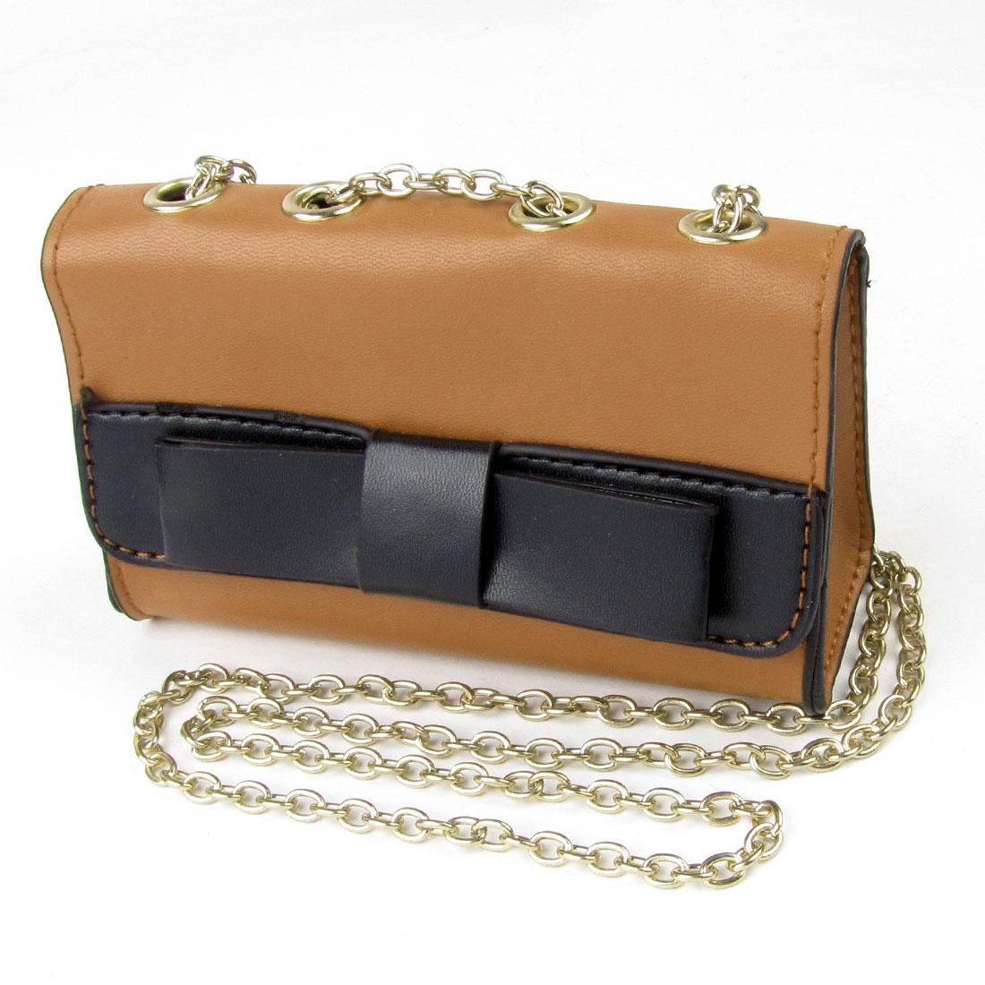 Black Bowknot Decor Faux Leather Magnetic Stud Closure Shoulder Bag Brown for Lady