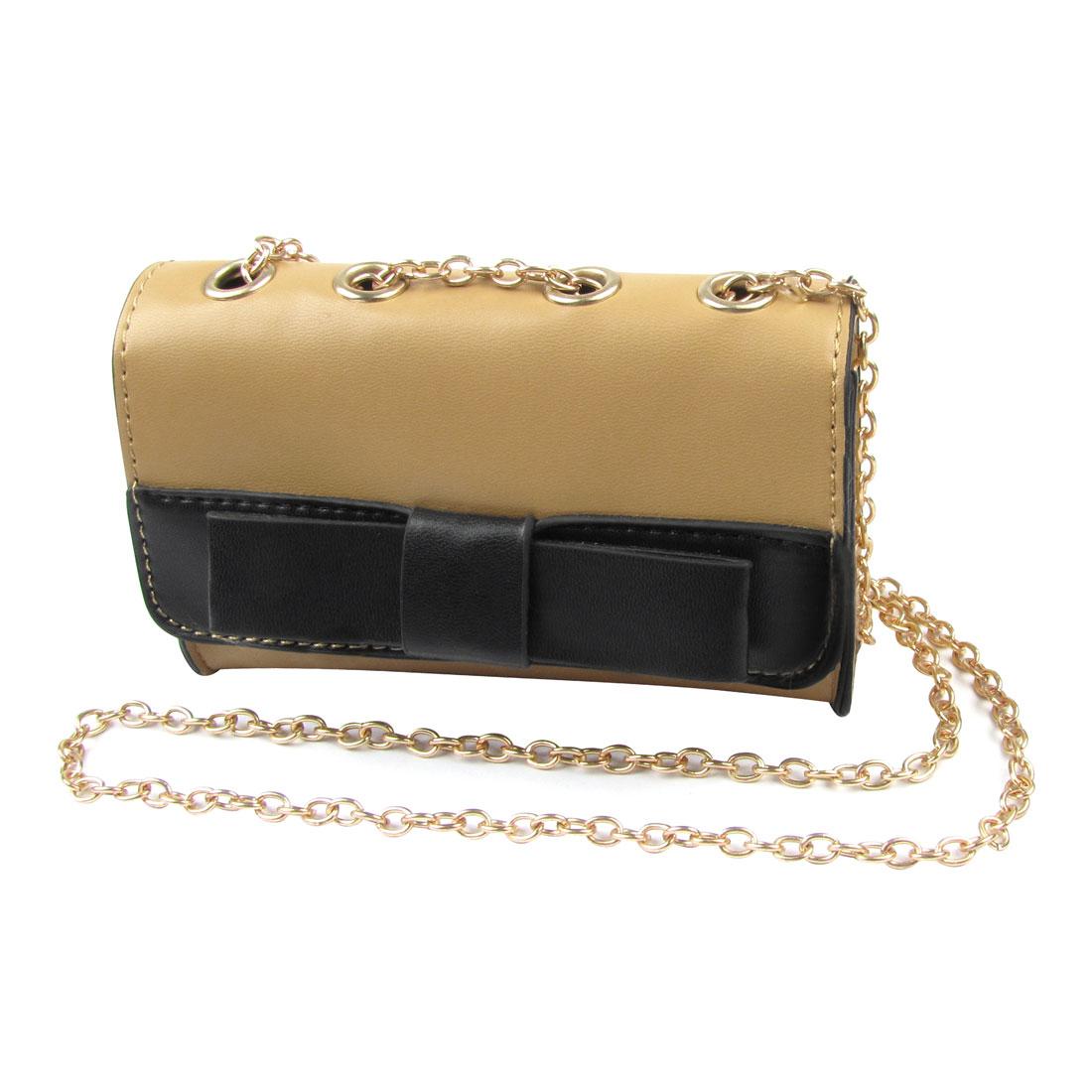 Lady Magnetic Flap Closure Black Bowknot Decor Faux Leather Shoulder Bag Khaki