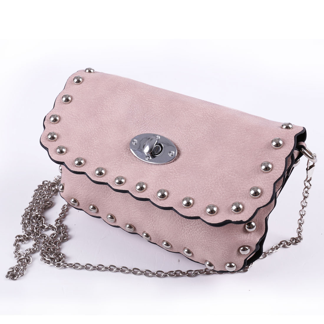 Stud Decor Faux Leather Metal Chain Turn Lock Clasp Shoulder Bag Pink for Woman