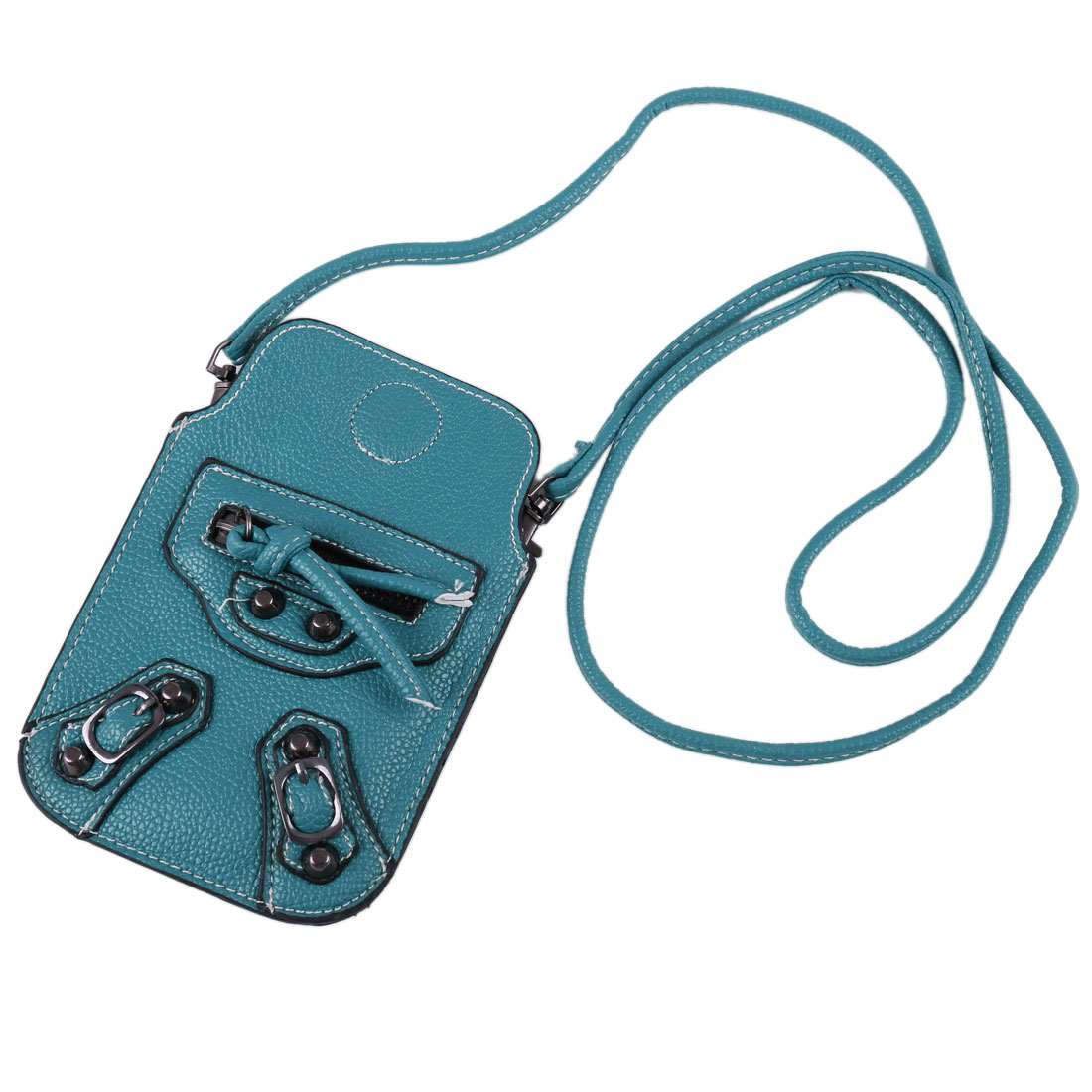 Blue Faux Leather Magnetic Closure Zip Stud Decor Cell Phone Pouch Bag w Strap