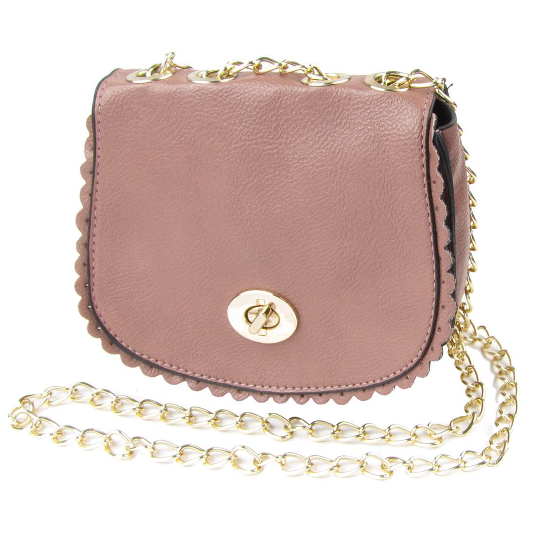 Pink Faux Leather Falbala Design Gold Tone Metal Chain Messenger Shoulder Bag