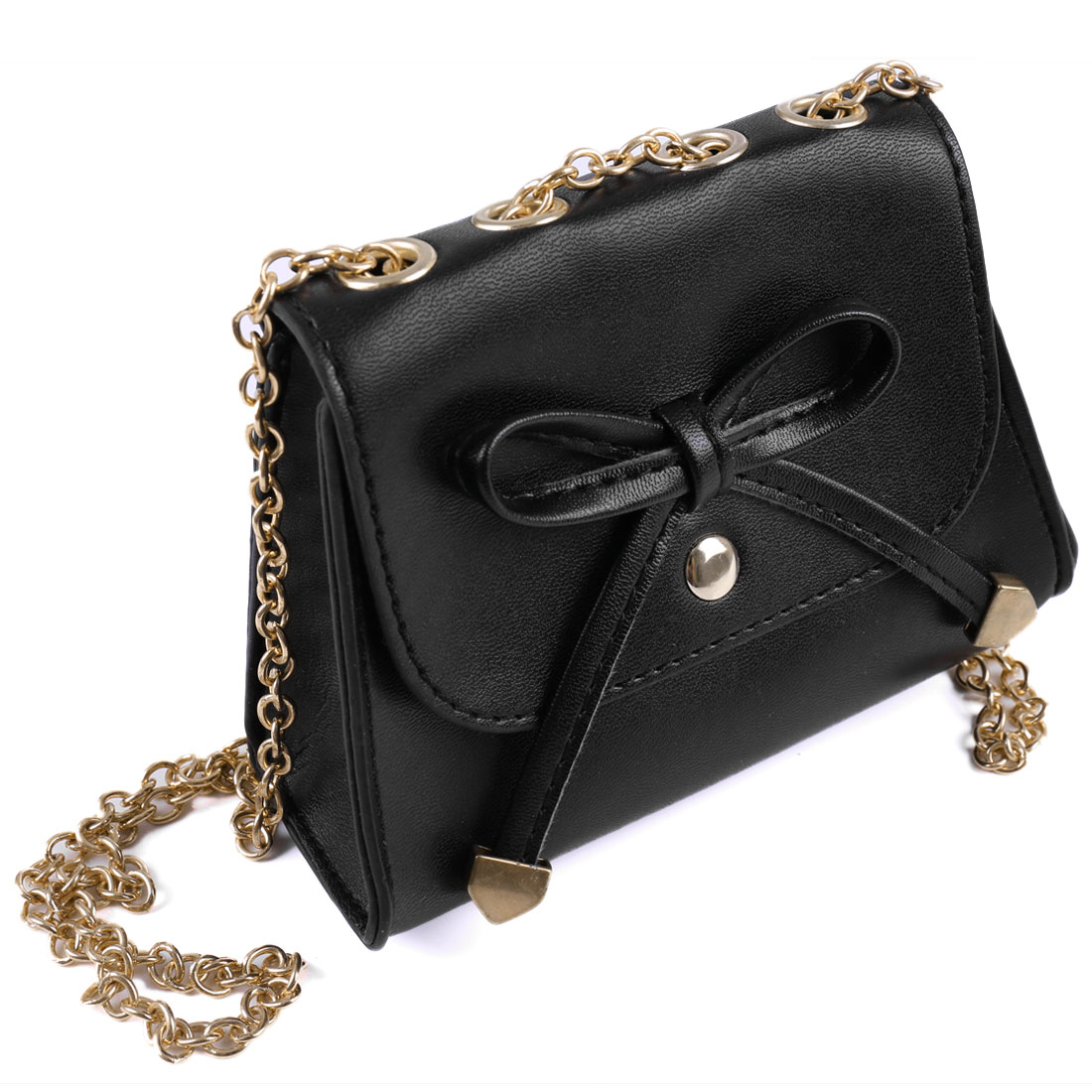 Bowknot Decor Faux Leather Gold Tone Chain Magnetic Flap Closure Handbag Black