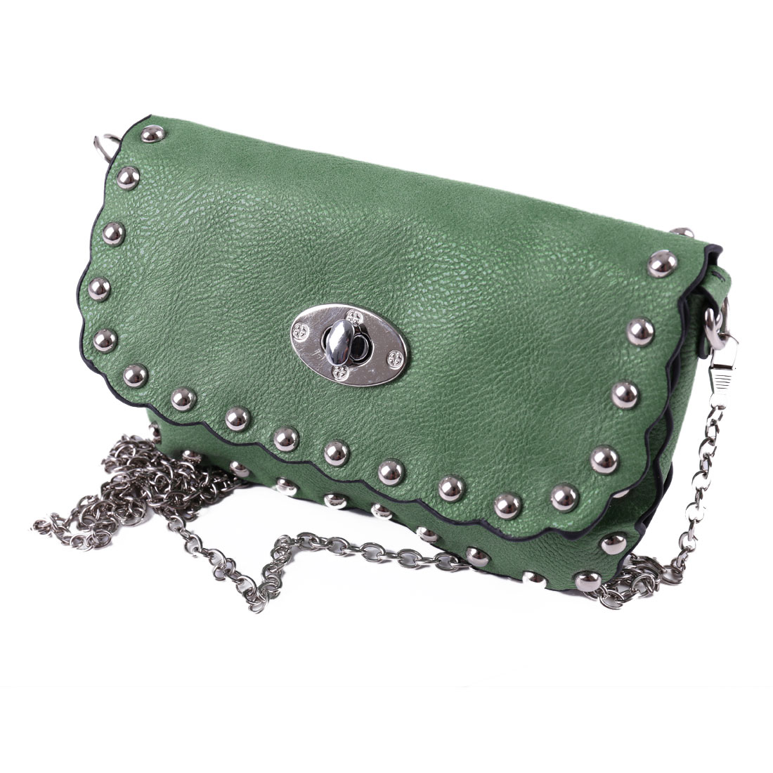 Stud Decor Green Litchi Faux Leather Metal Chain Turn Lock Clasp Shoulder Bag