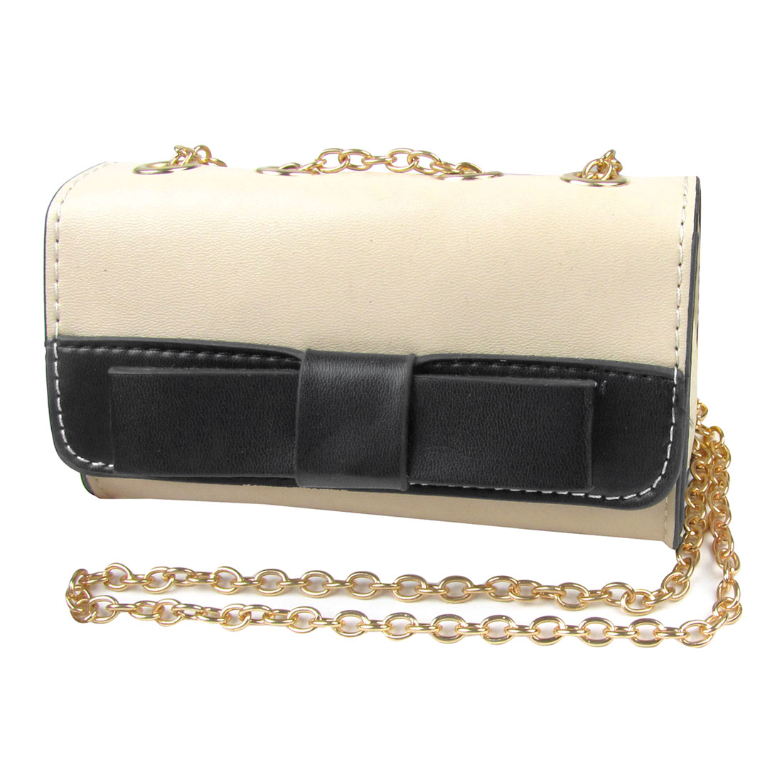 Woman Black Bowknot Decor Ivory Faux Leather Magnetic Stud Closure Handbag