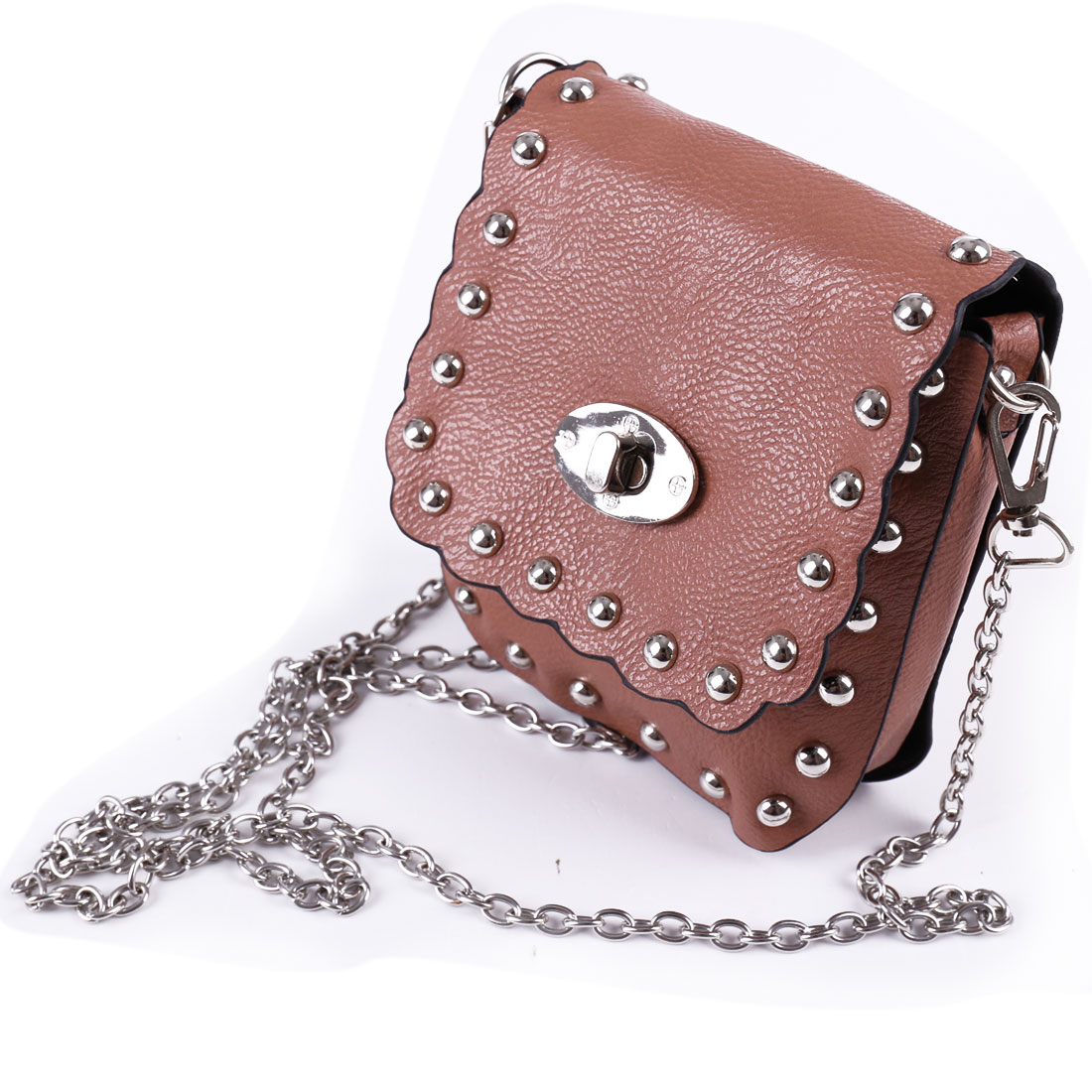 Lady Stud Decor Pink Litchi Faux Leather Turn Lock Clasp Crossbody Shoulder Bag