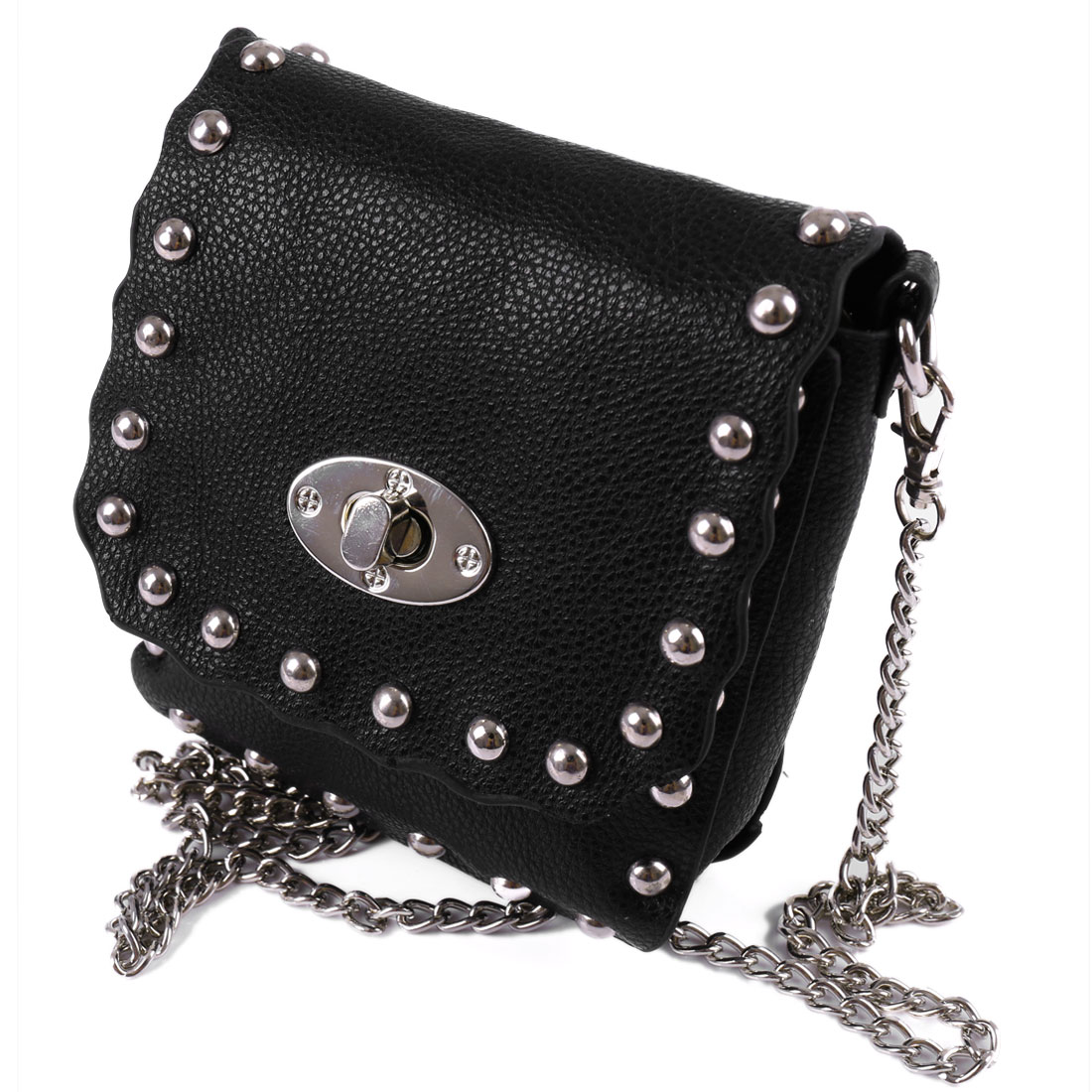 Woman Stud Decor Litchi Faux Leather Turn Lock Clasp Crossbody Bag Handbag Black