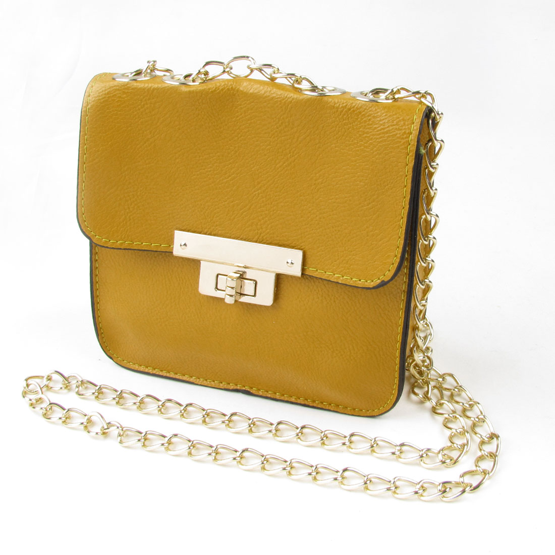 Yellow Litchi Pattern Faux Leather Turn Lock Clasp Crossbody Shoulder Bag