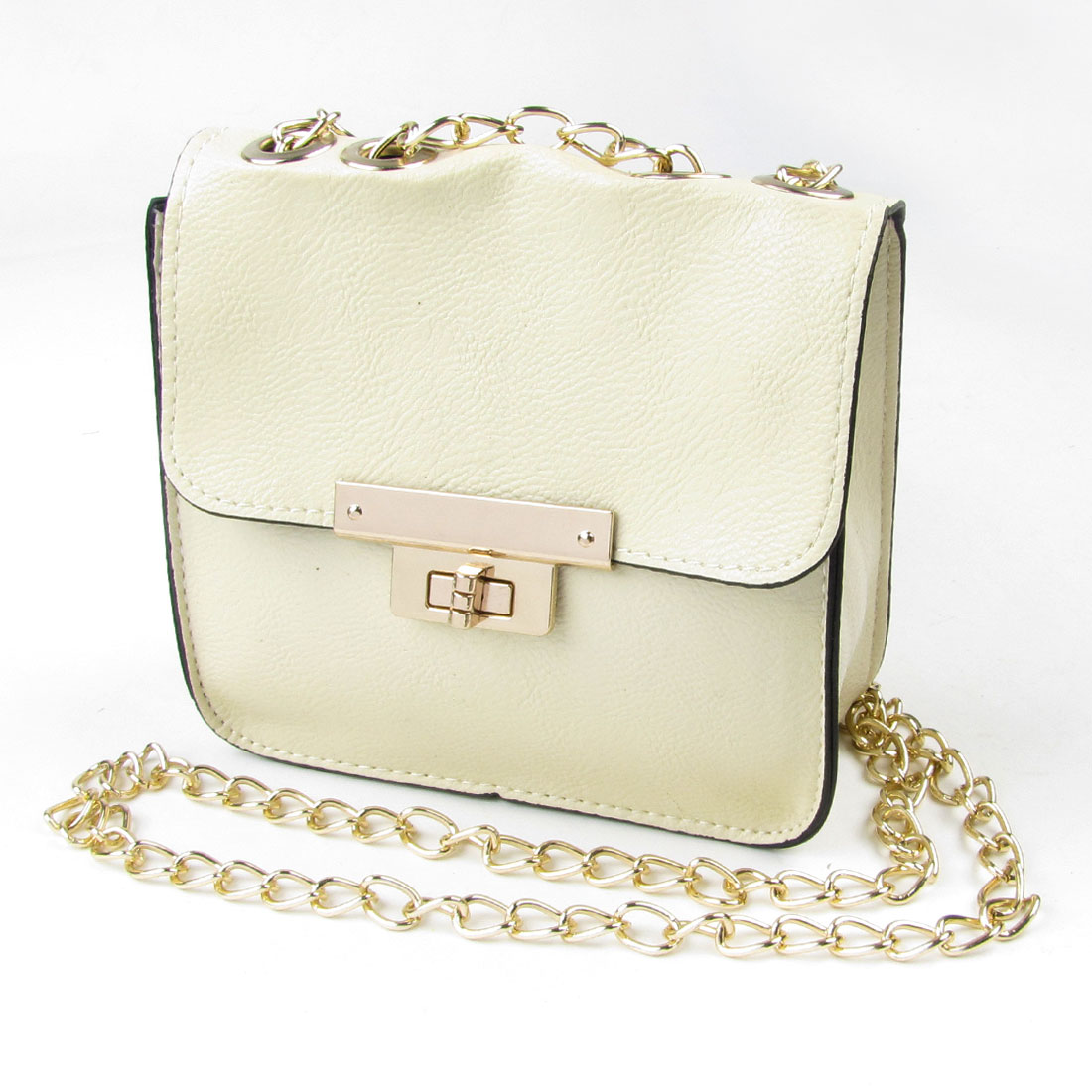 Ivory Faux Leather Turn Lock Closure Metal Chain Crossbody Shoulder Bag for Lady
