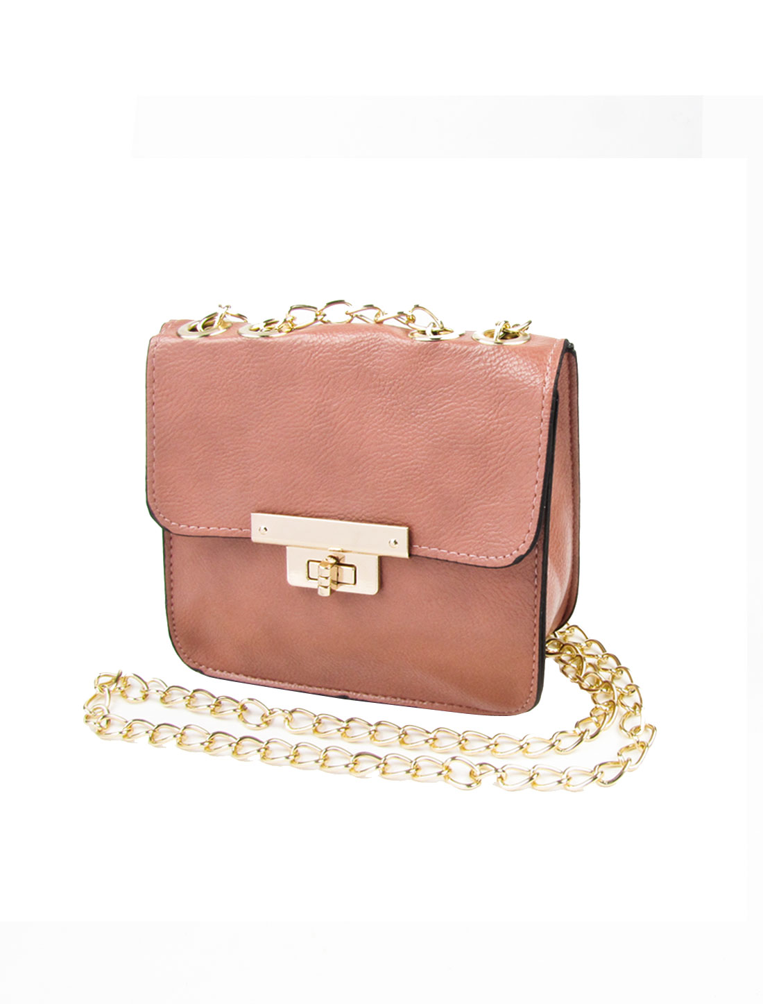 Pink Faux Leather Turn Lock Clasp Metal Chain Crossbody Bag Handbag for Lady