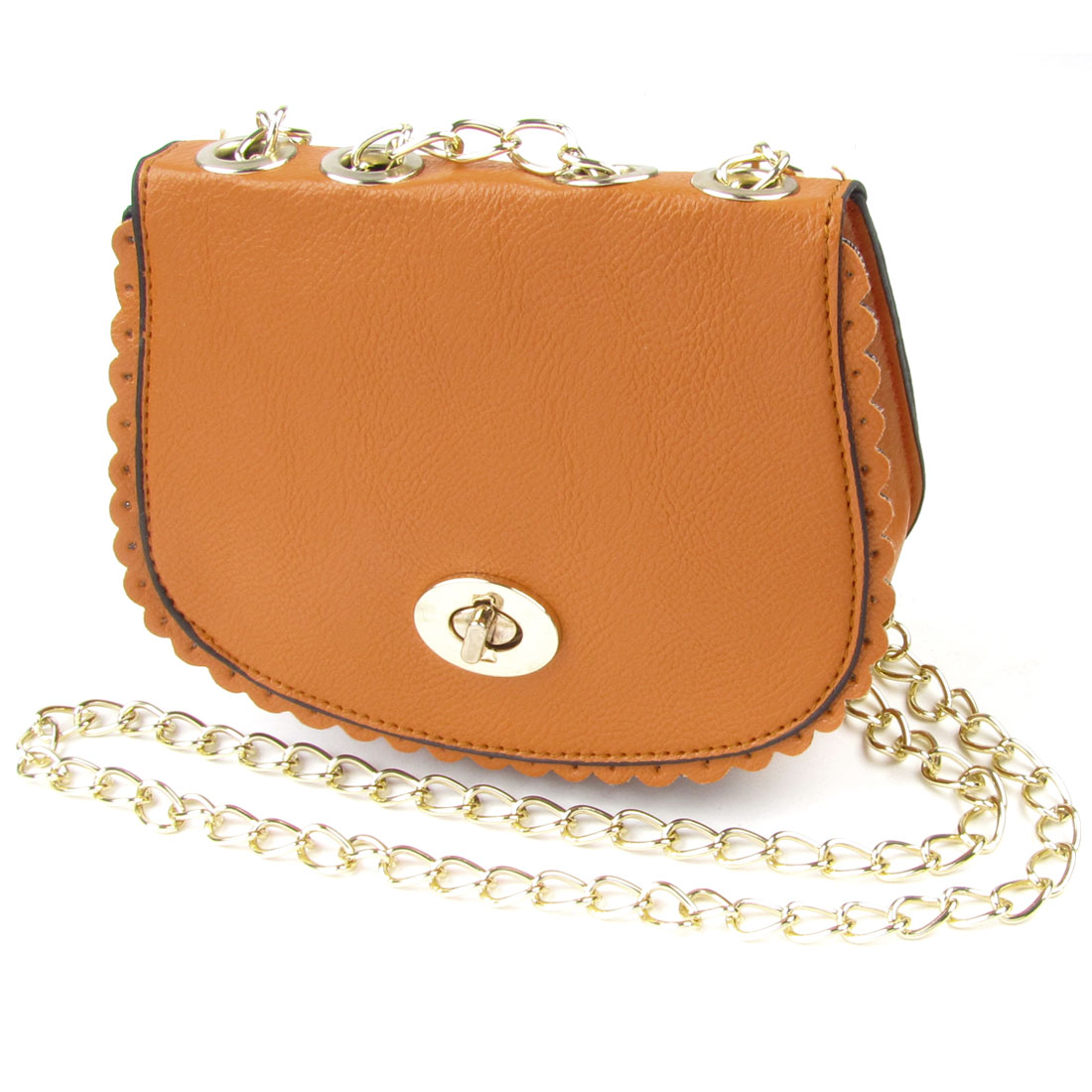 Woman Orange Litchi Print Faux Leather Turn Lock Clasp Crossbody Bags Shoulder Bag