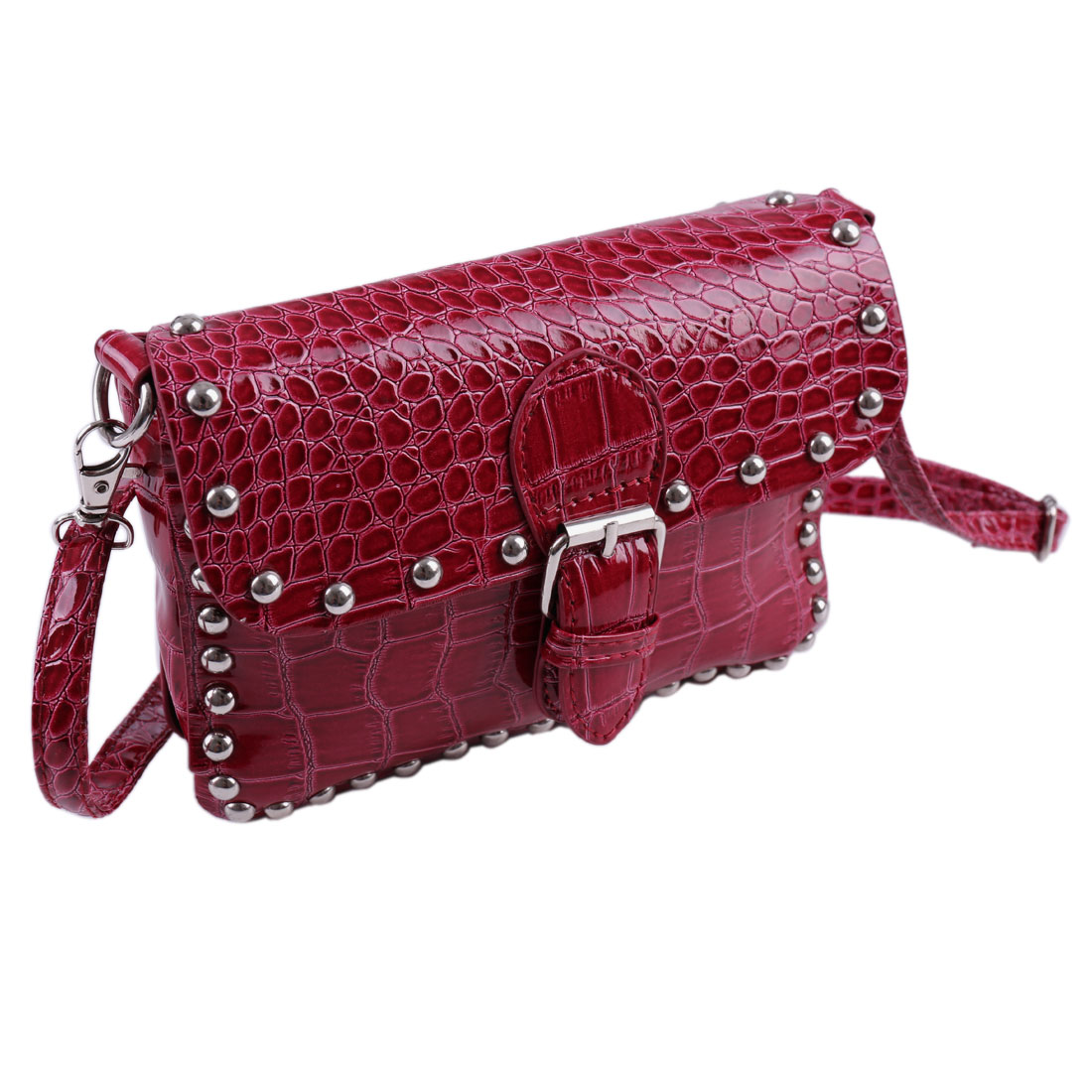 Woman Stud Decor Crocodile Pattern Faux Leather Shoulder Bag Burgundy w Strap