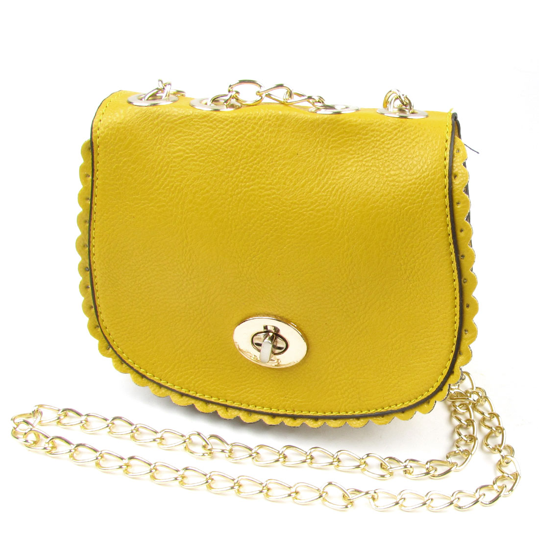 Woman Yellow Litchi Print Faux Leather Falbala Design Crossbody Shoulder Bag