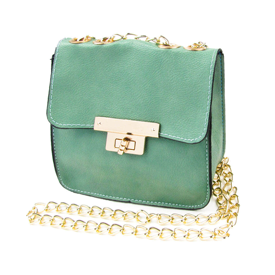 Lady Green Litchi Pattern Faux Leather Turn Lock Clasp Crossbody Shoulder Bag