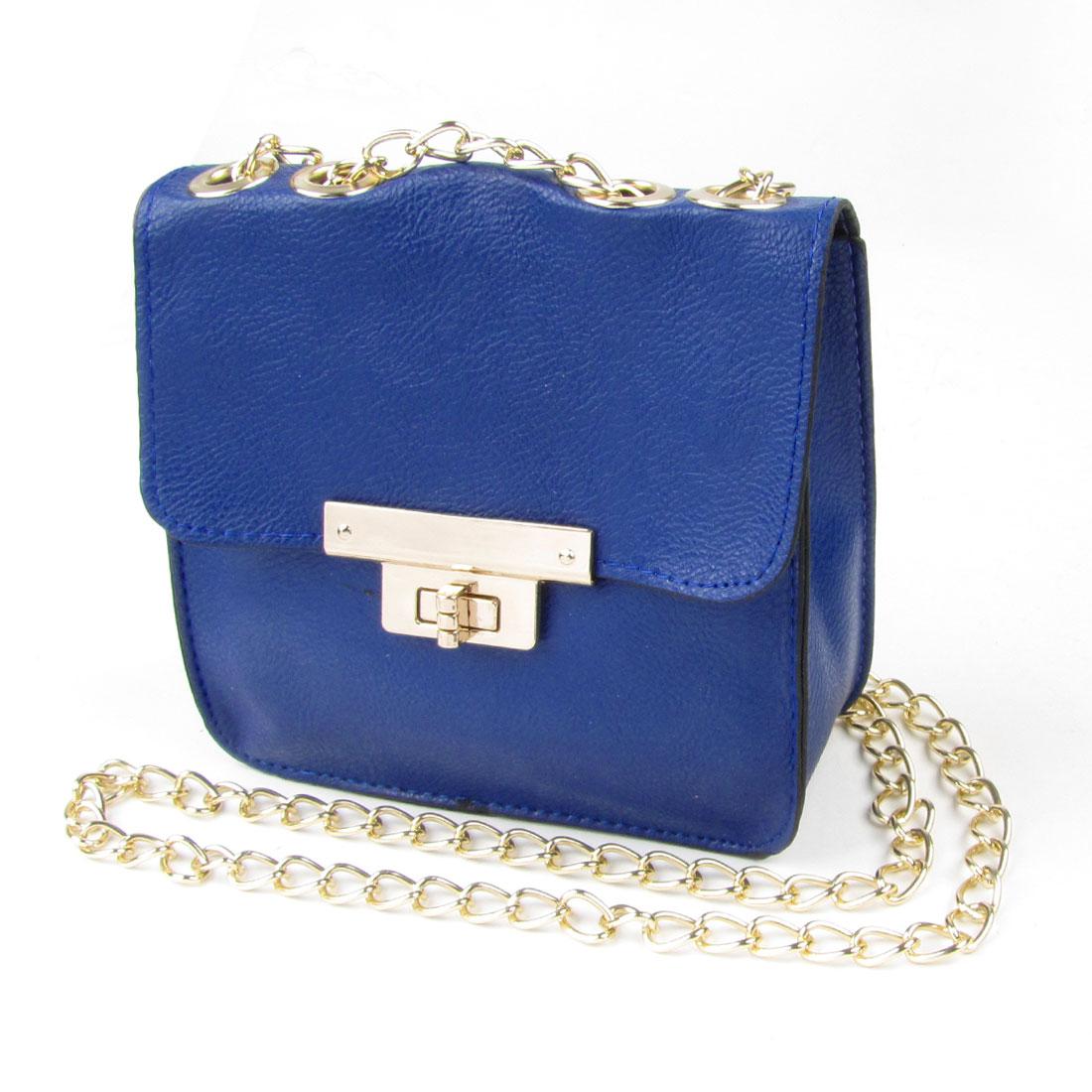 Dark Blue Litchi Pattern Faux Leather Turn Lock Clasp Crossbody Shoulder Bag