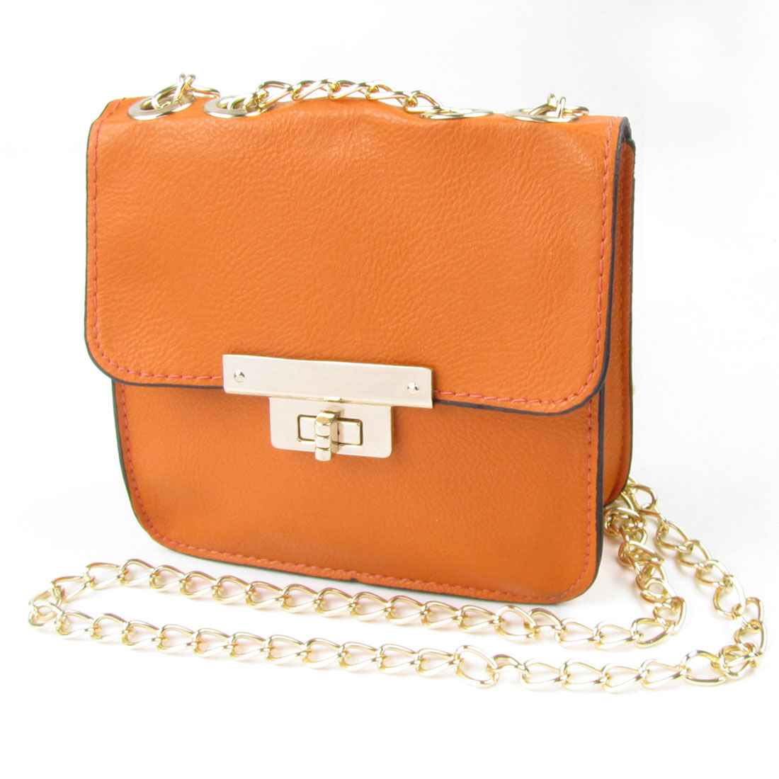 Orange Faux Leather Turn Lock Clasp Metal Chain Crossbody Shoulder Bag for Lady