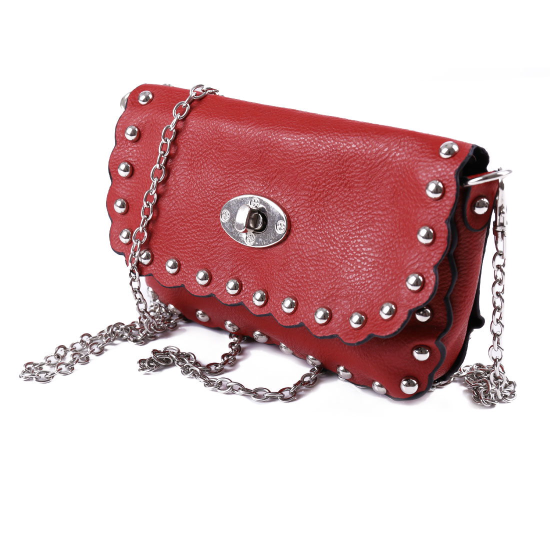 Woman Stud Decor Red Litchi Faux Leather Falbala Design Crossbody Bag Handbag