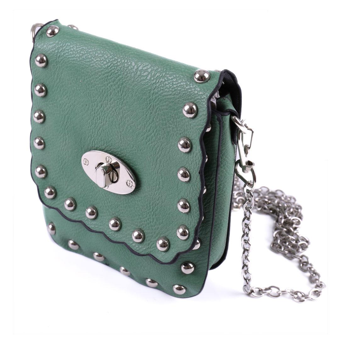 Woman Stud Decor Green Faux Leather Turn Lock Clasp Crossbody Bag Handbag