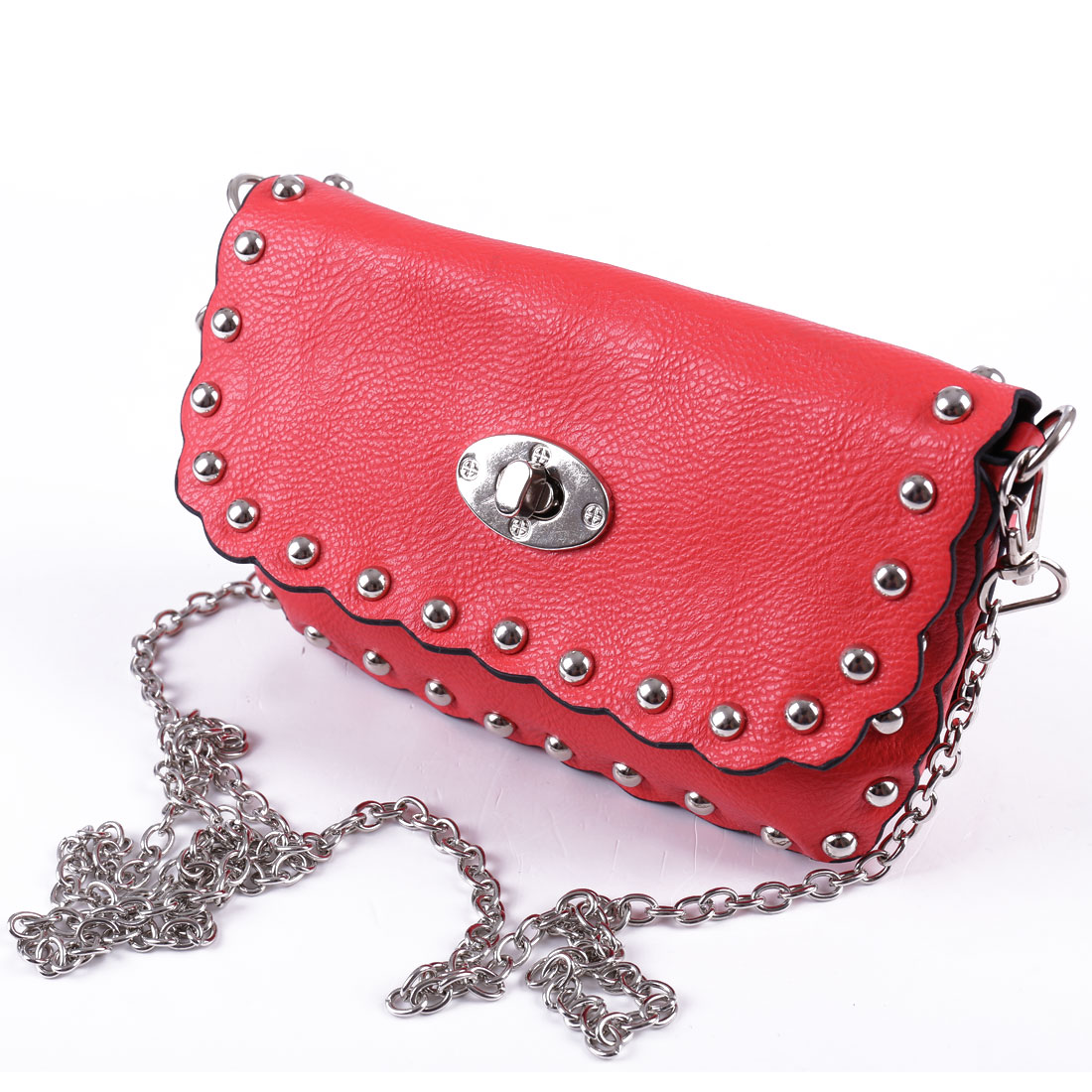Woman Stud Decor Litchi Faux Leather Falbala Design Crossbody Bag Salmon Pink