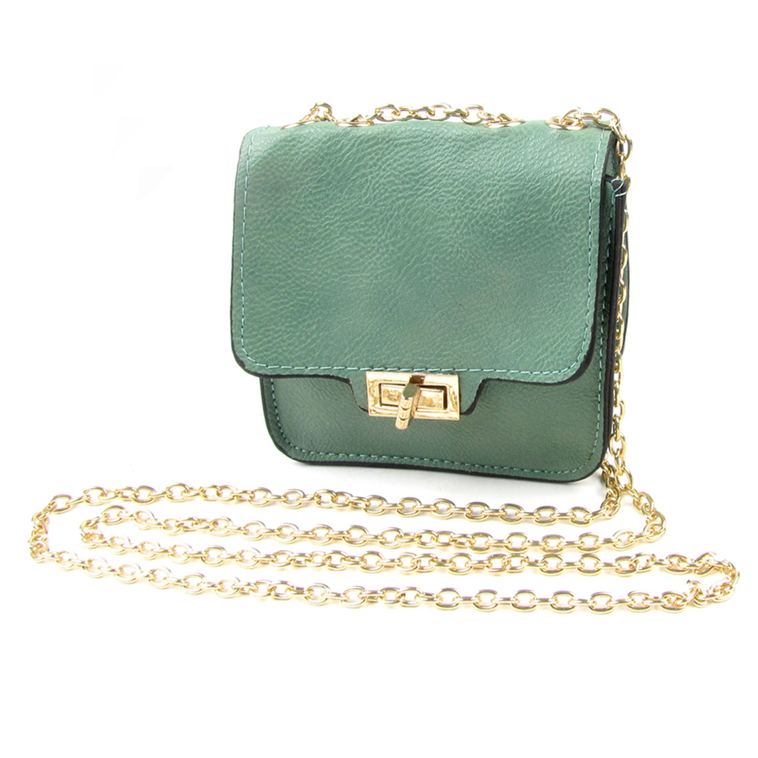 Litchi Print Faux Leather Gold Tone Chain Mini Crossbody Bag Handbag Green