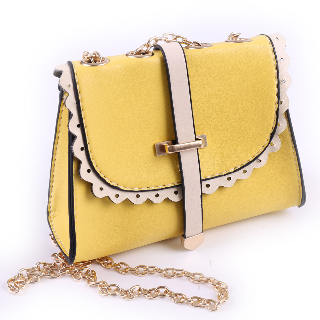 Woman Faux Leather Falbala Design Magnetic Stud Closure Shoulder Bag Yellow