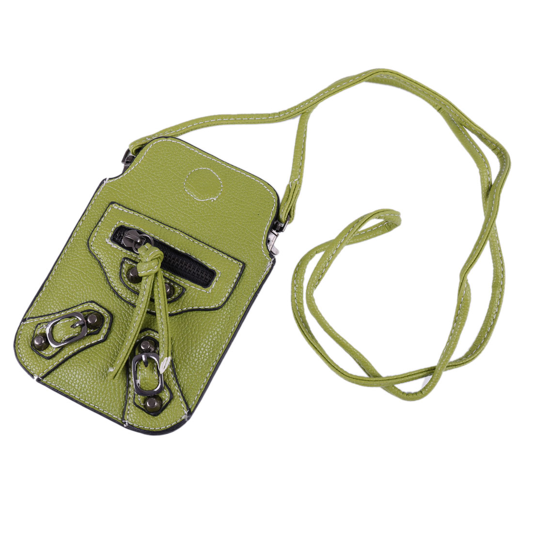 Zip Stud Decor Faux Leather Magnetic Closure Cell Phone Pouch Bag Green w Strap