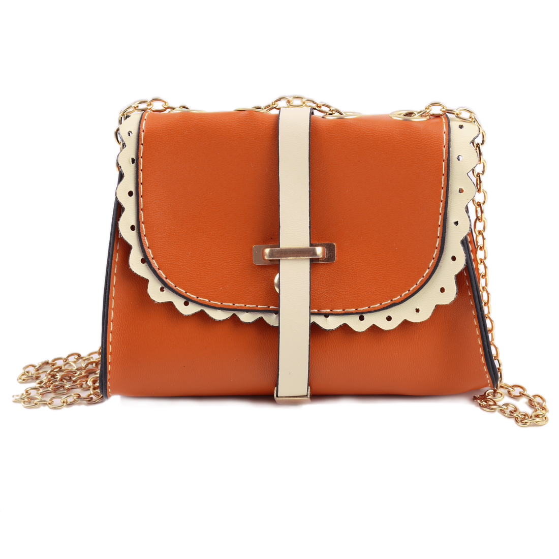 Woman Orange Faux Leather Falbala Design Magnetic Stud Closure Shoulder Bag
