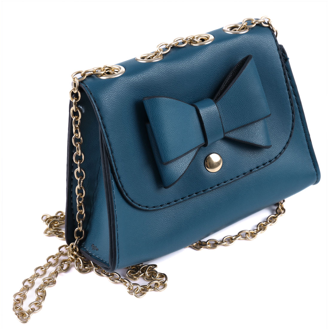 Woman Teal Blue Bowknot Decor Faux Leather Magnetic Flap Closure Shoulder Bag