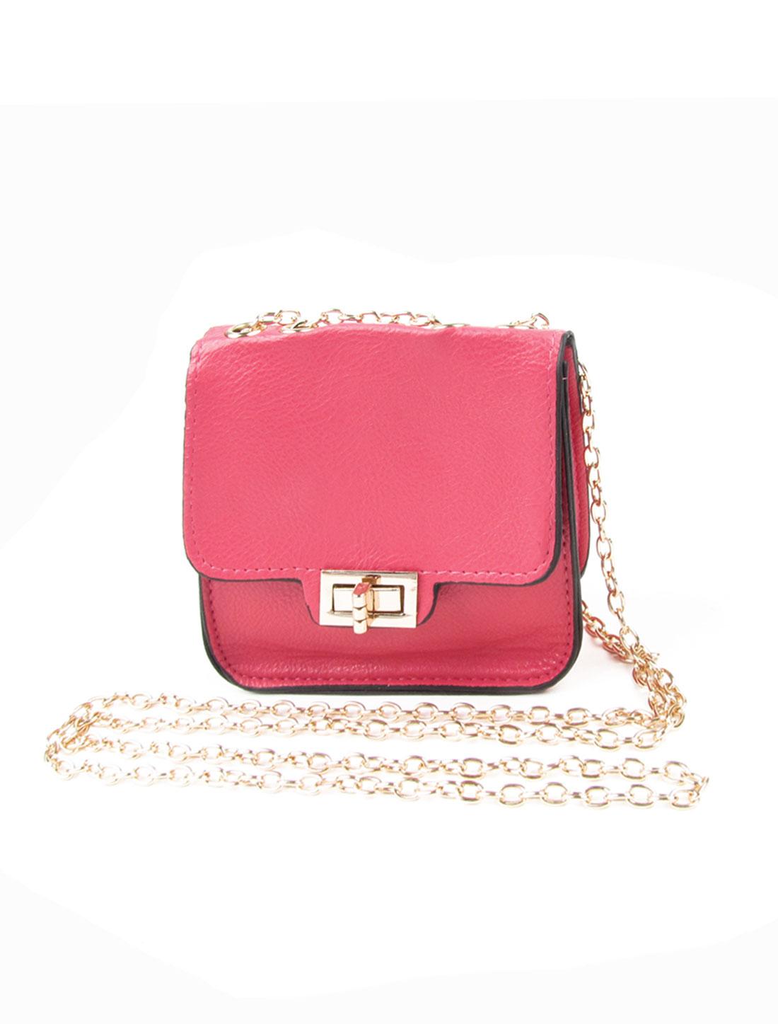 Woman Rose Pink Litchi Print Faux Leather Turn Lock Clasp Mini Crossbody Bag