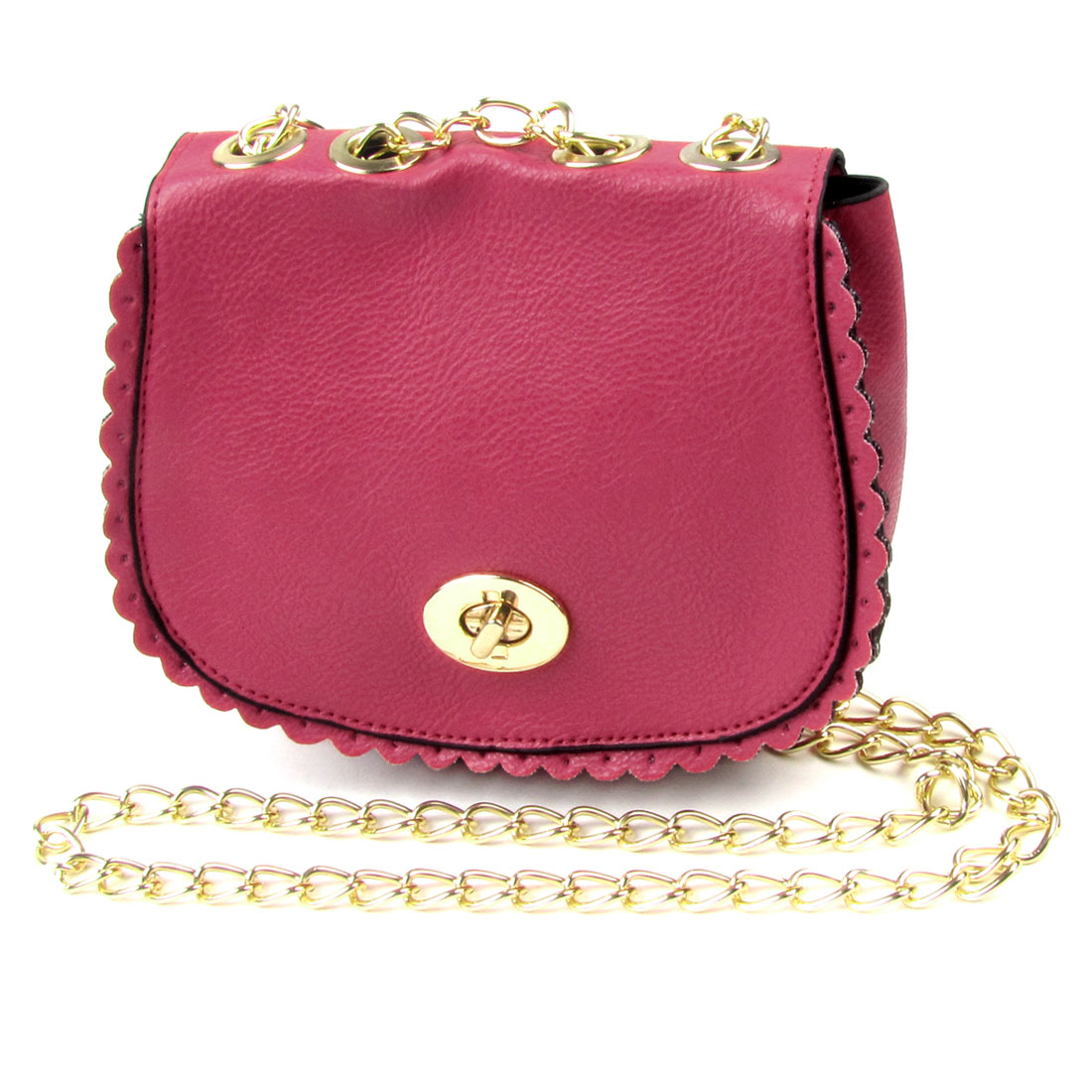 Rose Pink Faux Leather Falbala Design Gold Tone Metal Chain Shoulder Bag for Lady