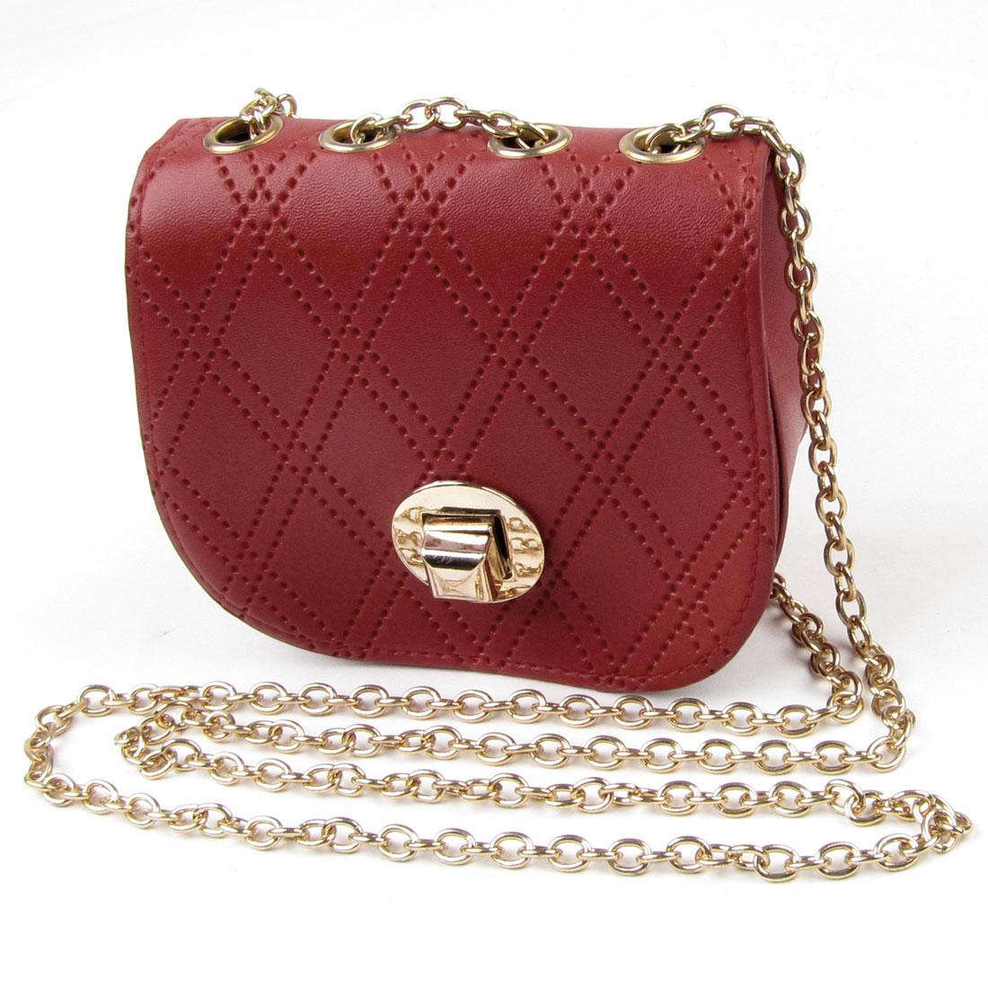 Woman Red Rhombus Print Faux Leather Turn Lock Closure Crossbody Shoulder Bag