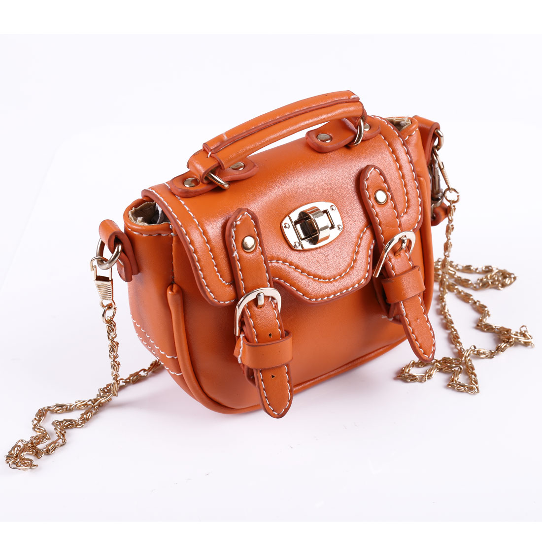 Woman Orange Faux Leather Turn Lock Magnetic Flap Closure Handbag w Strap