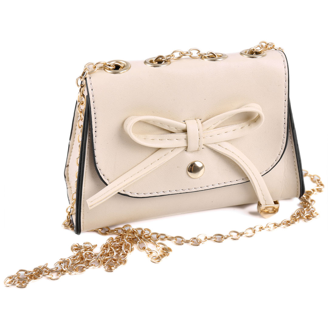 Woman Ivory Bowknot Decor Faux Leather Magnetic Stud Closure Shoulder Bag