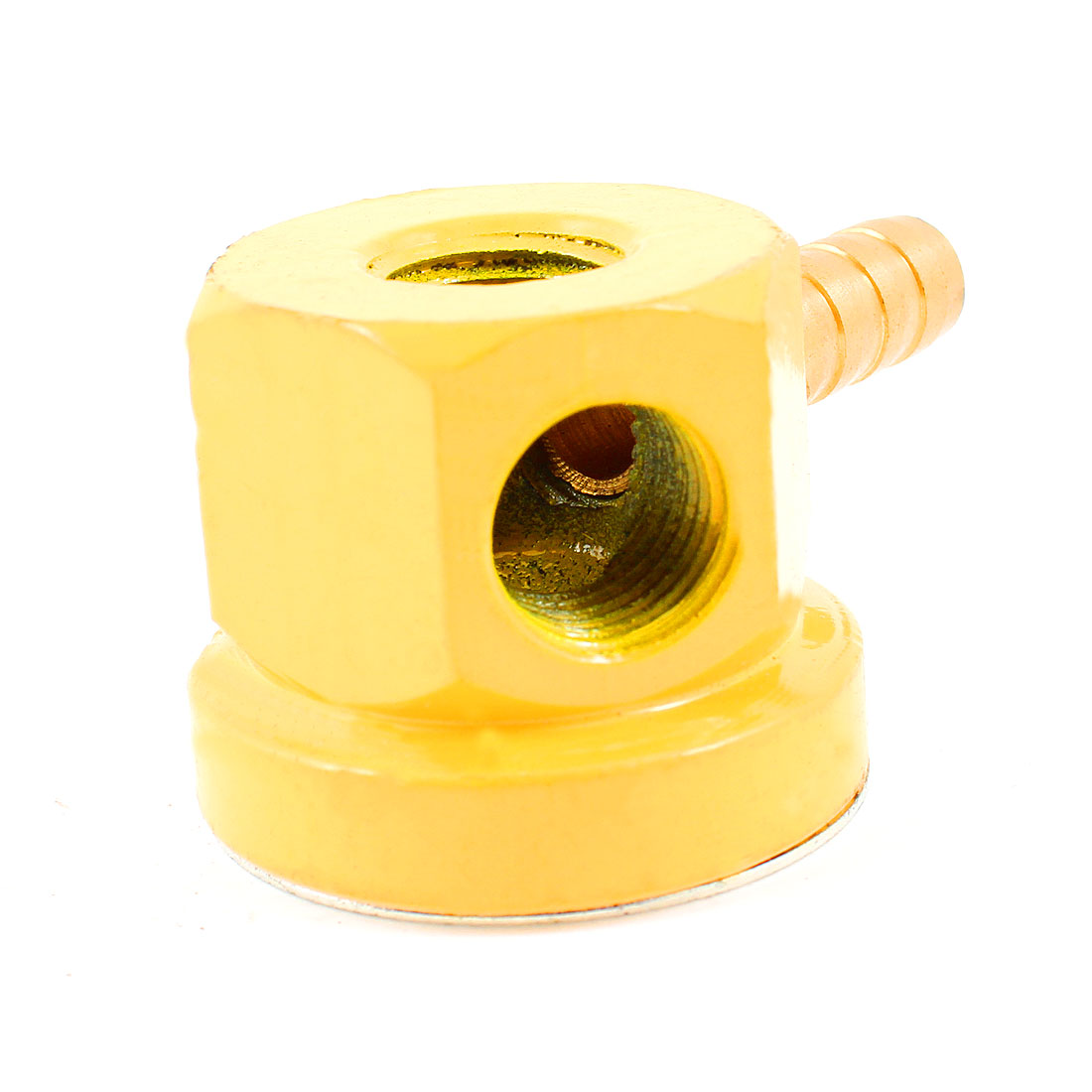 11mm Thread Diameter 2 Holes Round Nozzle Oil Coolant Pipe Base Yellow