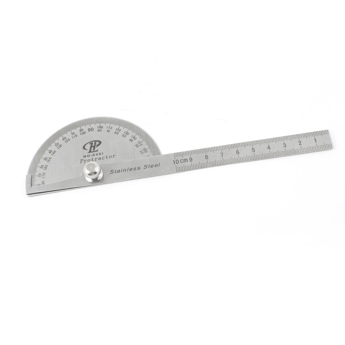 Stainless Steel Rotating 180 Degree Mesurement Protractor Metric 10cm Ruler