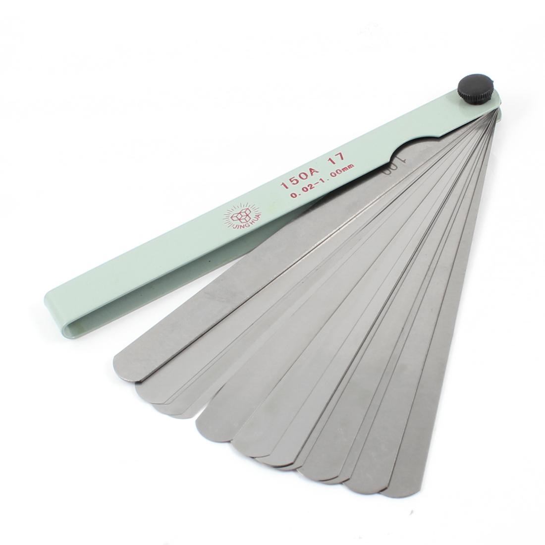 Measure Tool Metallic 0.02mm-1.00mm Thickness Feeler Gauge 17 in 1