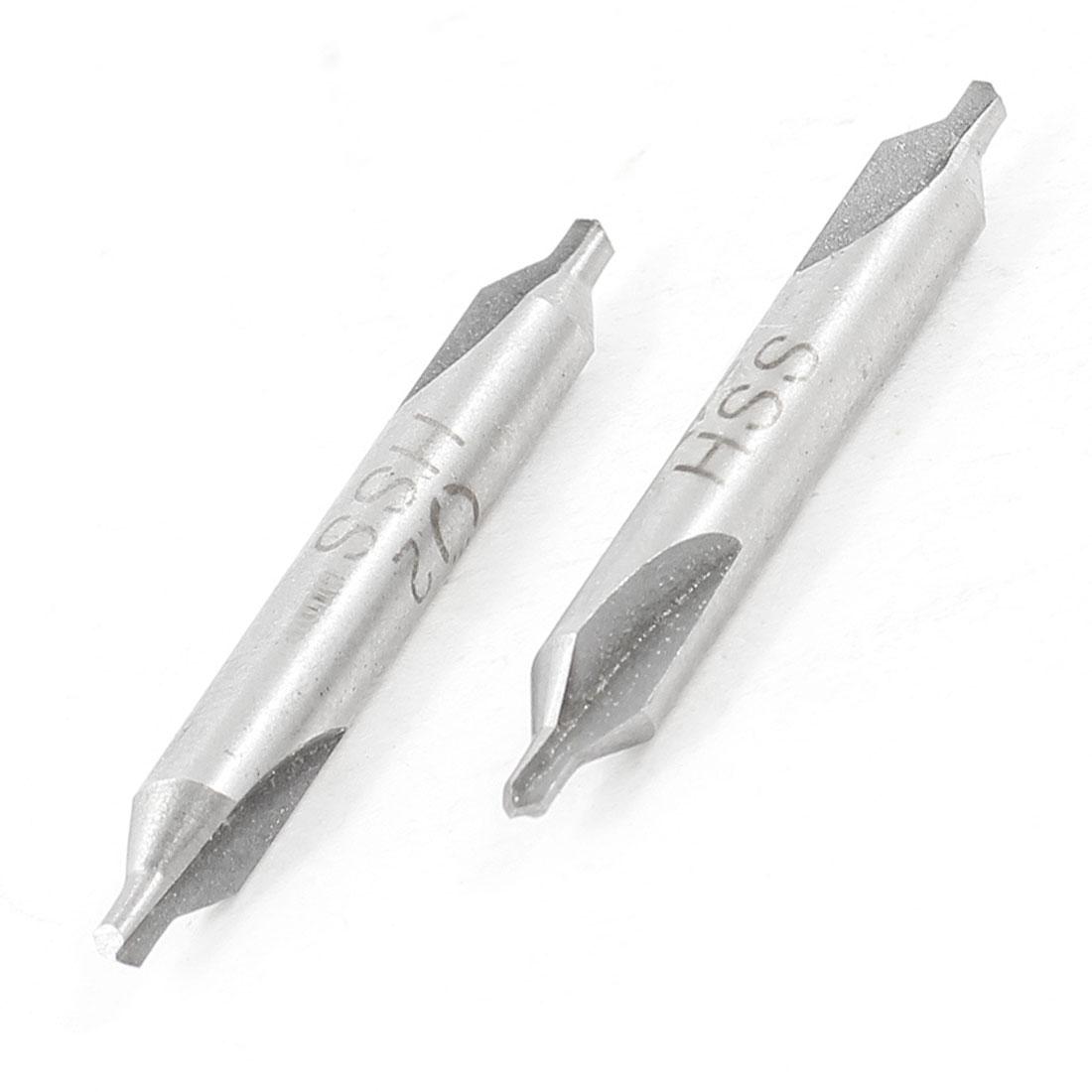 2 PCS HSS 5mm Shank 2mm Diameter Tip Electrical Center Drill Bits