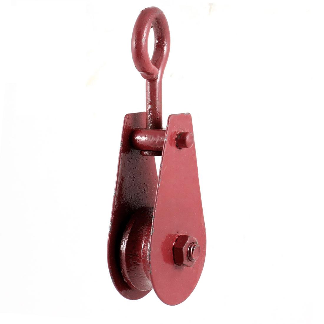 Hoisting Tool 0.1T 100kg 220.4Lbs Lifting Red Metal Crane Pulley Block