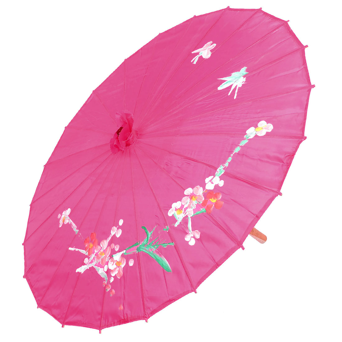 Chinese Style Orchid Printed Cloth Bamboo Dance Oriental Umbrella Hot Pink