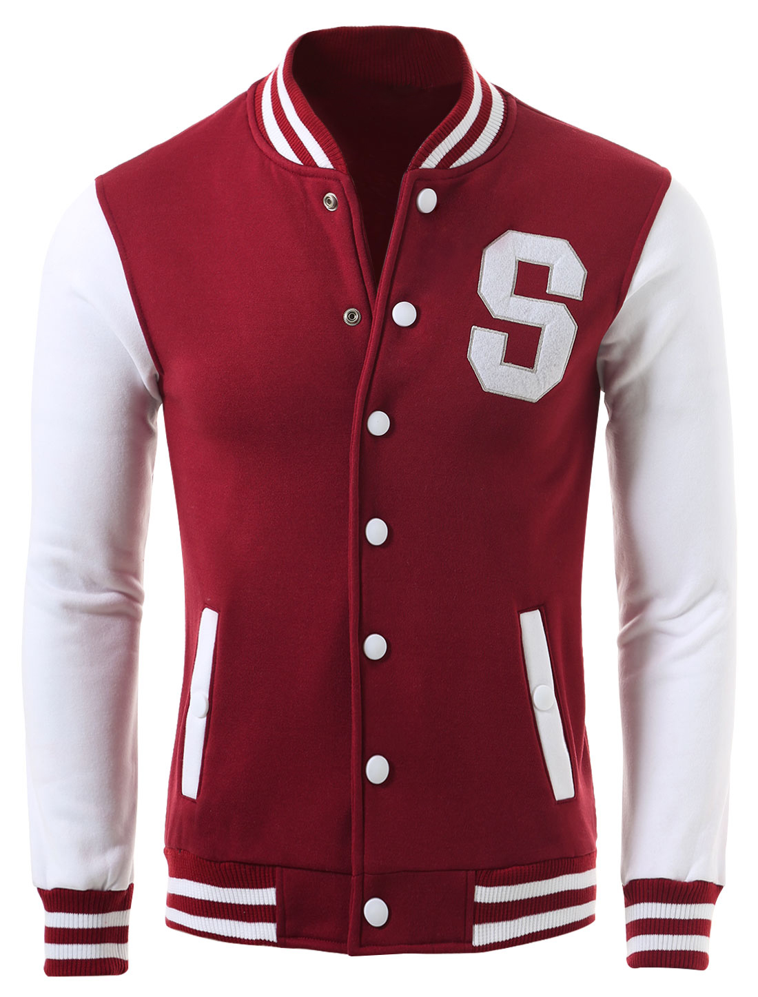 Men Two Sides Pockets Button Closure Letterman Baseball Jacket Burgundy M