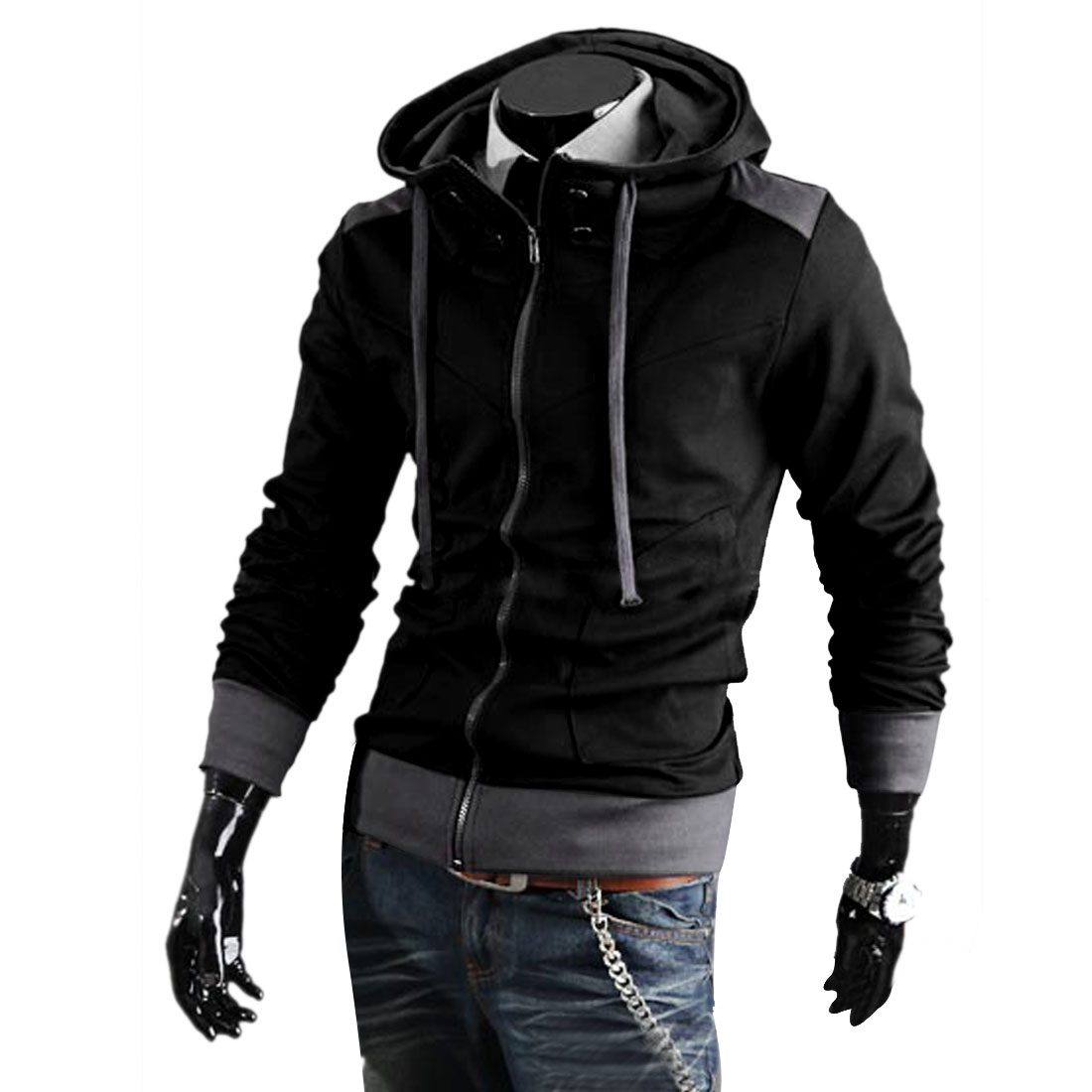 M Black Long Sleeve Slim Fit Style Slant Pockets Men Casual Jackets Hoodies