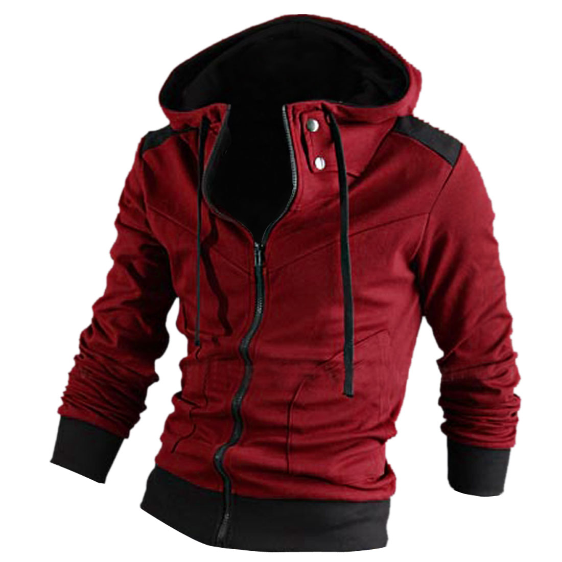 Men Long Sleeve Skinny Fit Stand Collar Casual Sexy Top Hoodies M Burgundy