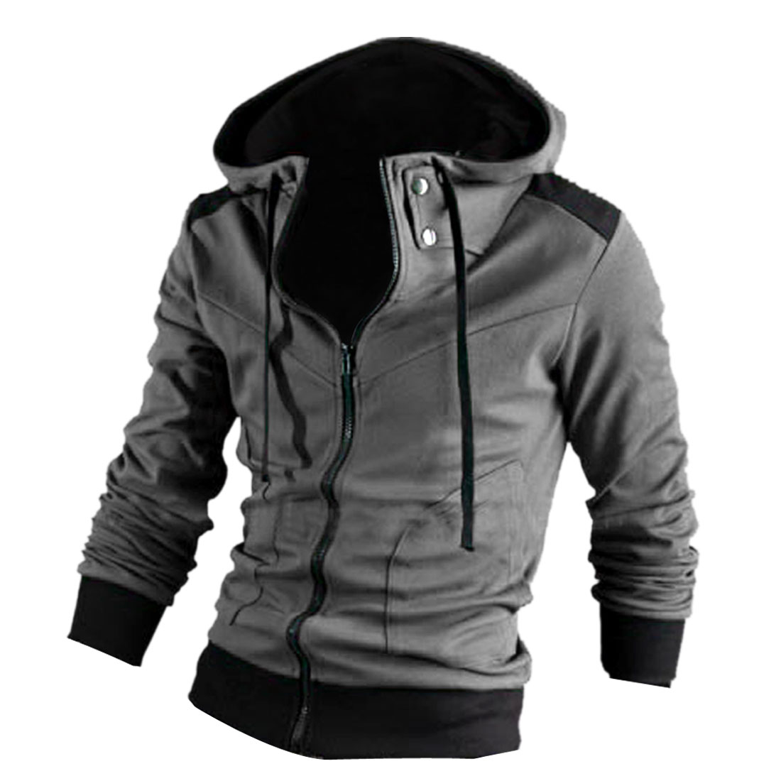 Men Stand Collar Zipper Front Long Sleeve Slim Fit Hoodies Dark Grey M