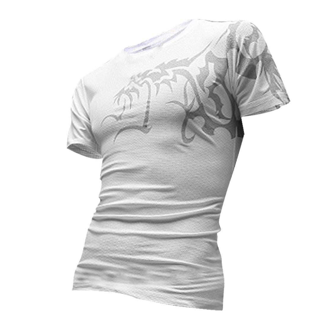 Q28 Men Round Neck Short Sleeve Tribal Pattern Design T-Shirt White XXL/M (US 38)