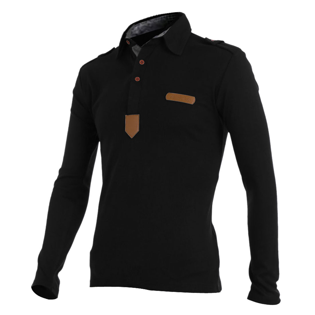 Men Half Buttons Decor Close-fitting Black Polo Shirt S