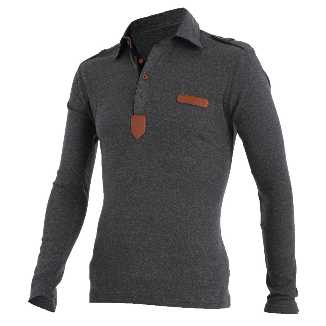 Men Slim Fit Faux Leather Detail Pullover Dark Gray Polo Shirt S