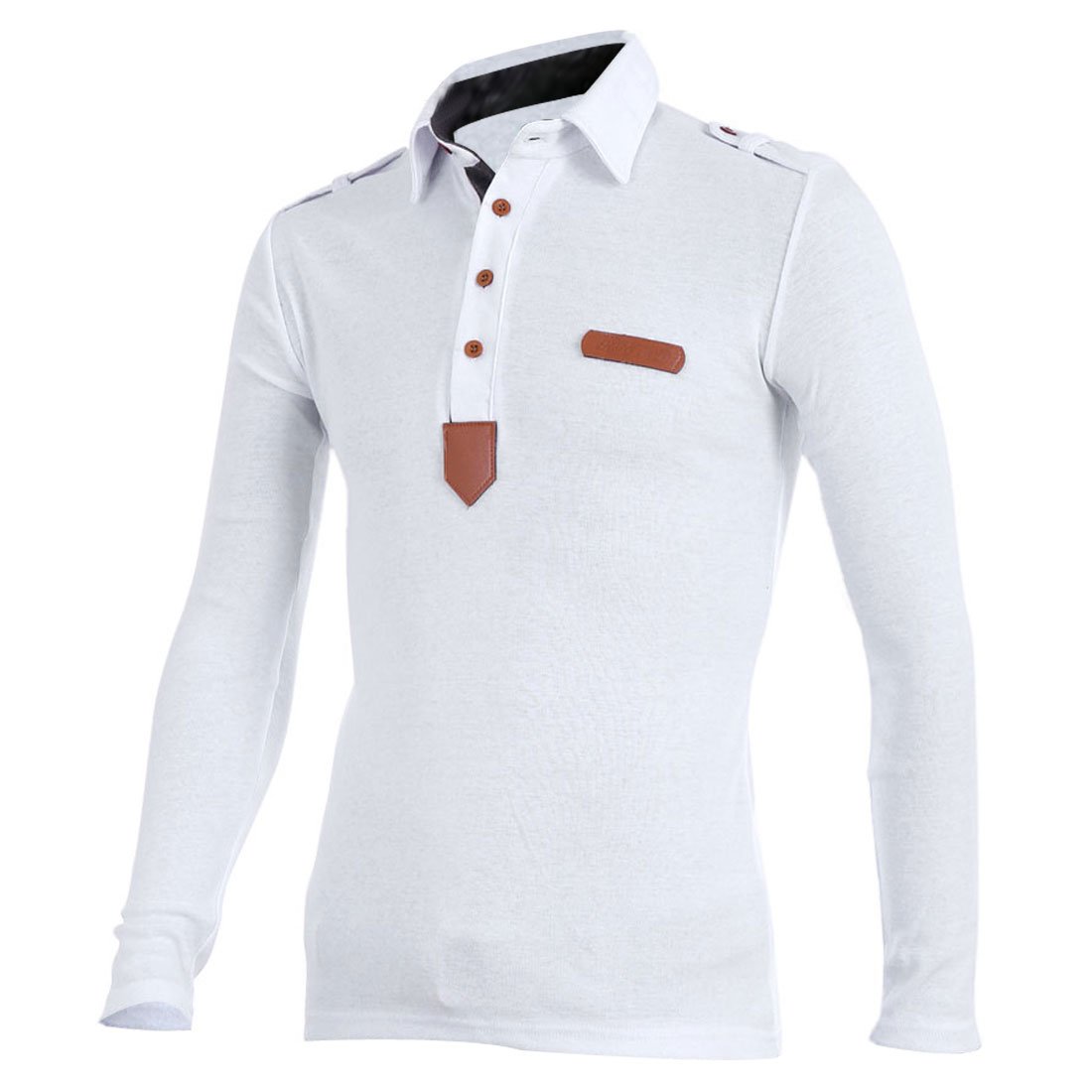 Men Long Sleeve Four Buttons Front Slim Fit Polo Shirt White S